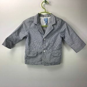 Children's Place 9-12 Blue White Seersucker Jacket
